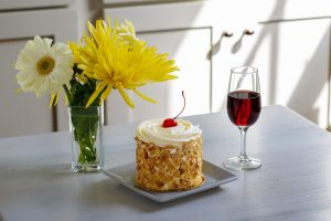 tawny port, wine bar, rum cake, flowers